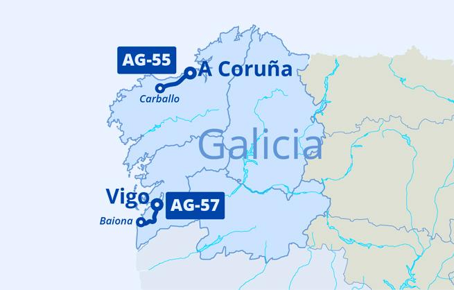 Mapa Autoestradas de Galicia AG-55 / AG-57